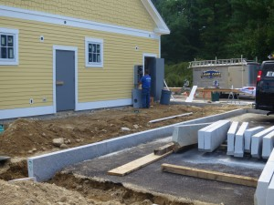 Placing Curb around building.
